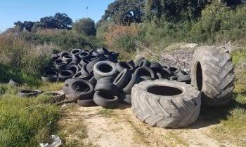 Verdemar Ecologistas en Acción vuelve a denunciar la gran cantidad de neumáticos en el Cerro del Prado, Barriada de Guadarranque en San Roque.