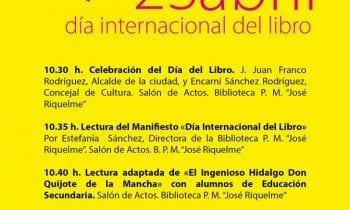 Un manifiesto y una lectura del Quijote conmemoran mañana el Día Internacional del Libro