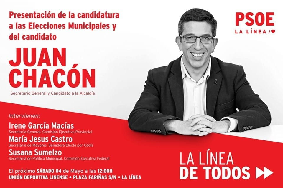 Susana Sumelzo, María Jesús Castro e Irene García arroparán a Juan Chacón en la presentación de la candidatura a las municipales