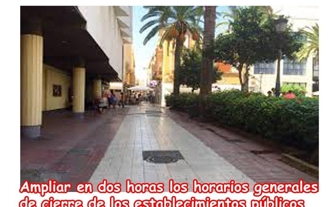 Nuevo Bando: Ampliación Municipal de Horarios Generales de cierre de establecimientos públicos de Hostelería y Esparcimiento.