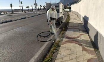 Operarios de limpieza realizan trabajos de corte de malas hierbas en distintos puntos de la ciudad